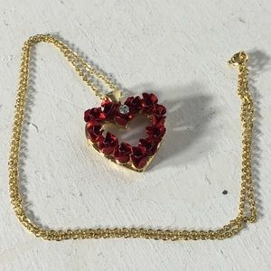 Jewelry - ⏰ Red Roses Heart Pendant Signed Necklace